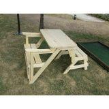 banco de madeira que vira mesa em Valinhos