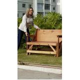 mesa banco dobrável de madeira em Vinhedo