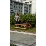quanto custa mesa banco dobrável de madeira em Rio Claro